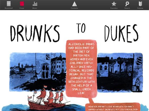 Handmålat på paddan. Emma Evans illustrationer och Max Bergs texter fungerar fint tillsammans i Katachi magazines illustrerade grafik om te.